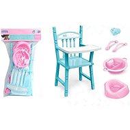 Nábytek pro panenky Sada pro panenky s vysokou židlí a doplňky 40x23cm, PVC