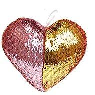 Polštářek ve tvaru srdce s flitry růžový - Polštář