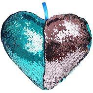 Polštářek ve tvaru srdce s flitry modrý - Polštář