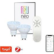 Immax Neo GU10 4,8W teplá bílá, stmívatelná, 2ks + ovladač - LED žárovka