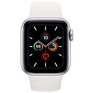 Apple Watch Series 5 40mm Stříbrný hliník s bílým sportovním řemínkem - Chytré hodinky