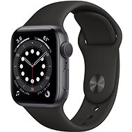 Apple Watch Series 6 40mm Space Grey Aluminium with Black Sports Strap - Smartwatch