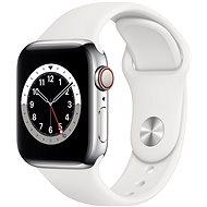 Apple Watch Series 6 40mm Cellular Stříbrný nerez s bílým sportovním řemínkem - Chytré hodinky