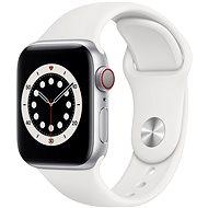 Apple Watch Series 6 44mm Cellular Stříbrný hliník s bílým sportovním řemínkem - Chytré hodinky