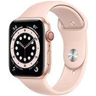 Apple Watch Series 6 44mm Cellular Gold Aluminium with Sand-pink Sports Strap - Smartwatch