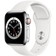 Apple Watch Nike Series 6 44mm Cellular Silver Stainless Steel with White Sports Strap - Smartwatch