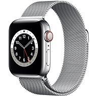 Apple Watch Series 6 44mm Cellular Stříbrný nerez se stříbrným milánským tahem - Chytré hodinky