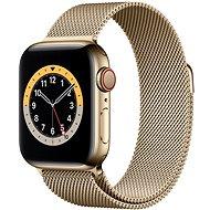 Apple Watch Series 6 44mm Cellular Zlatý nerez se zlatým milánským tahem - Chytré hodinky