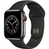 Apple Watch Series 6 44mm Cellular Grafitově šedý nerez s černým sportovním řemínkem