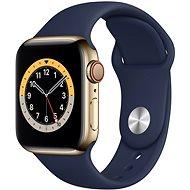 Apple Watch Series 6 44mm Cellular Zlatý nerez s námořně modrým sportovním řemínkem - Chytré hodinky