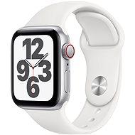 Apple Watch SE 44mm Cellular Stříbrný hliník s bílým sportovním řemínkem