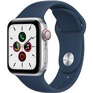 Apple Watch SE 40mm Cellular Stříbrný hliník s hlubokomořsky modrým sportovním řemínkem