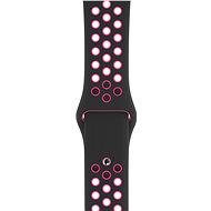 Apple Watch 44mm Černý/křiklavě růžový Nike Sport Band – S/M & M/L - Řemínek