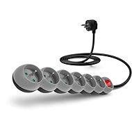 CONNECT IT prodlužovací 230V, 6 zásuvek + vypínač, 2m, šedý - Napájecí kabel