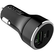 CELLY s USB-C a USB Qualcomm 3.0 portem 42W max černá - Nabíječka do auta