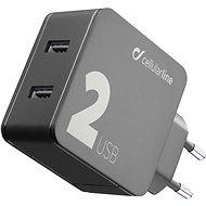 Cellularline Multipower 2 s technologií Smartphone Detect 2 x USB port 24W černá  - Nabíječka
