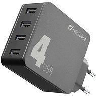 Cellularline Multipower 4 s technologií Smartphone Detect 4 x USB port 42W černá  - Nabíječka