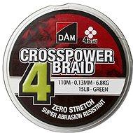 DAM Crosspower 4-Braid 0,13mm 6,8kg 15lb 110m Green - Šňůra