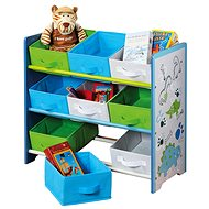 Children's Storage Rack with 9 Fabric Boxes, Blue - Shelf