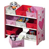 Dětský úložný regál s 9ti látkovými boxy, růžový - Regál
