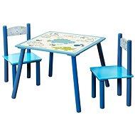 Sada dětský stolek se dvěmi židlemi modrý  - Dětský nábytek