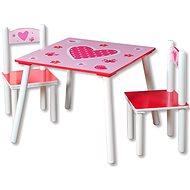Sada dětský stolek se dvěmi židlemi růžový - Dětský nábytek
