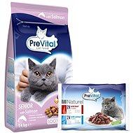 PreVital Senior Cat losos 1,4kg + PreVital NATUREL dušené filetky s hovězím a lososem v omáčce 4 × 8 - Granule pro kočky