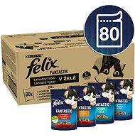 Kapsička pro kočky Felix Fantastic s hovězí/kuře/tuňák/treska v želé  80 x 85 g