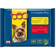 TEO kapsička pes pack drůbeží a hovězí 4 × 100g