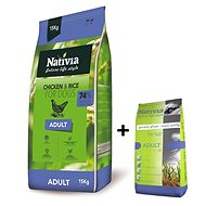Nativia Adult – Chicken & Rice 15 kg + 3 kg zdarma - Granule pro psy
