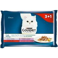 Gourmet perle (4 × 85 g) - minifiletky ve šťávě se zeleninou - Kapsička pro kočky