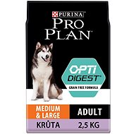 Pro Plan medium large adult optidigest grain free krůta 2,5 kg - Granule pro psy
