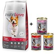 Nutrilove ADULT S fresh chicken 8 kg +  Nutrilove konzerva 3 × 415 g - Granule pro psy