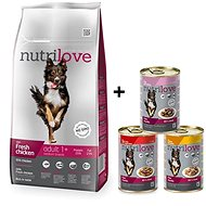 Nutrilove ADULT M fresh chicken 8 kg + Nutrilove konzerva 3 × 415 g - Granule pro psy