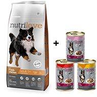 Nutrilove ADULT L fresh chicken 12 kg +  Nutrilove konzerva 3 × 415 g - Granule pro psy