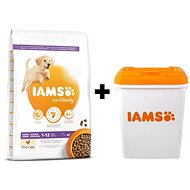 IAMS Dog Puppy Large Chicken 12kg + IAMS Dog nádoba na krmivo 15 kg