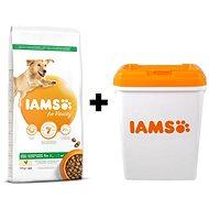 IAMS Dog Adult Large Chicken 12kg + IAMS Dog nádoba na krmivo 15 kg
