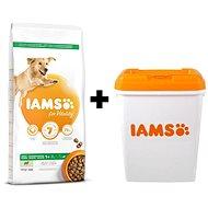 IAMS Dog Adult Large Lamb 12kg + IAMS Dog nádoba na krmivo 15 kg