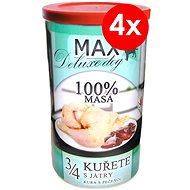 MAX deluxe 3/4 kuřete s játry 1200 g, 4 ks - Konzerva pro psy