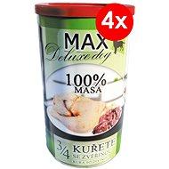 MAX deluxe 3/4 kuřete se zvěřinou 1200g, 4ks - Konzerva pro psy