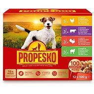 Kapsička pro psy Propesko kapsa pes kuře+hovězí+krůta+jehně 12 × 100 g - Kapsička pro psy