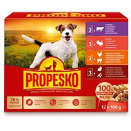 Propesko Pouch for Dogs - Chicken/Lamb, Turkey, Rabbit/Carrot, Beef  12 × 100g - Dog Pouch Food
