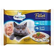 PreVital NATUREL dušené filetky tuňák a pstruh v želé 4 × 85 g - Kapsička pro kočky
