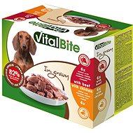 VitalBite dušené filetky kuřecí a hovězí v omáčce 12 × 85g - Kapsička pro psy