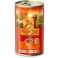 Propesko kousky pes kuře+těstoviny+mrkev 1240 g