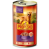 Propesko Dog Pieces of  Beef + Chicken + Venison 1240g - Canned Dog Food