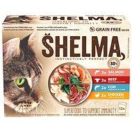 Shelma bezobilné dušené filetky výběr z masa a ryb 12 × 85 g - Kapsička pro kočky