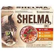 Shelma bezobilné dušené filetky 4 druhy masa 12 × 85 g - Kapsička pro kočky