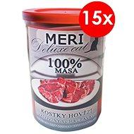 MERI deluxe kostky hovězí svaloviny s chrupavkou 400 g, 15 ks - Konzerva pro kočky