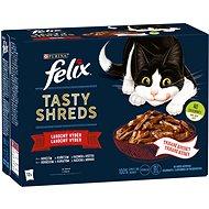 Felix Tasty Shreds s hovězím, kuřetem, kachnou, krůtou ve šťávě 12 x 80 g - Kapsička pro kočky